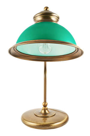 lampshade: Metal table-lamp with a green lampshade isolated over white background