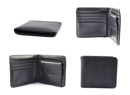 Black leather wallet isolated over white background, set of four foreshortenings photo