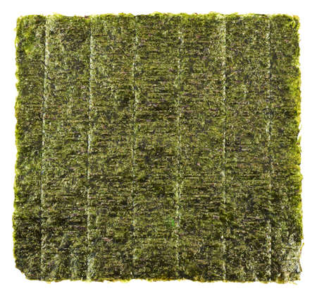 Nori sheet of edible seaweed species of the red algae genus Porphyra, isolated over white background
