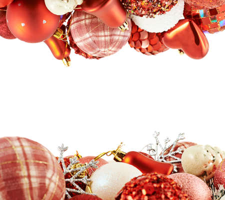 Seasonal Christmas decoration background frame as an xmas tree decorations over white photo