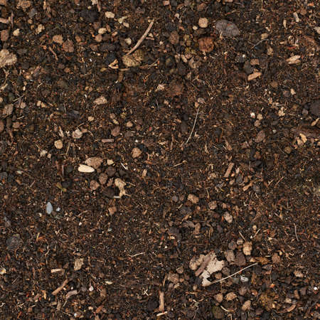 Earth ground covered with compost mulch fragment as a texture background photo