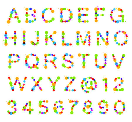 ABC alphabet set made of colorful ink blot spots isolated over white background photo