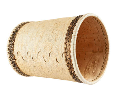 Handmade wooden cylindrical case, lying on its side, isolated over white background Stock Photo - 23165169