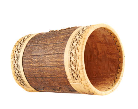 Handmade wooden cylindrical case isolated over white  photo