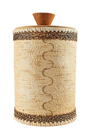 cylindrical: Handmade cassa cilindrica in legno isolato su sfondo bianco, vista frontale