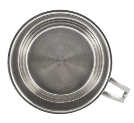 Stainless steel cooking pot with a handle isolated over white background