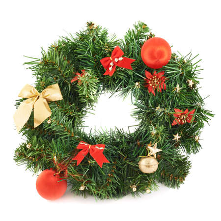 Wreath fir-tree branch christmas decoration isolated over white background photo