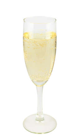 Full glass of champagne isolated over white background photo