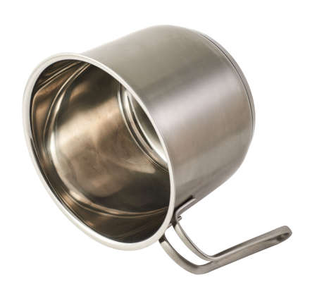 Stainless steel cooking pot with a handle isolated over white background photo