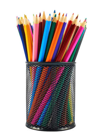 Black pencil holder full of colorful pencils isolated over white background photo
