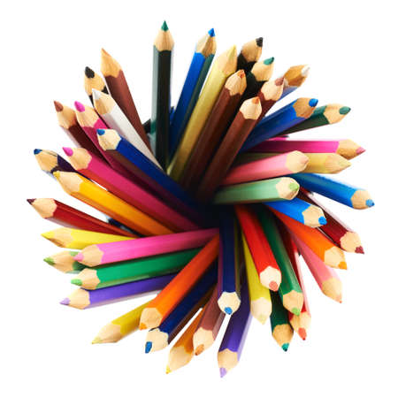 Round twirl of colorful pencils isolated over white background photo