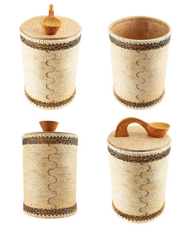 Handmade wooden cylindrical case isolated over white , set of four foreshortenings photo