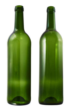 Empty green glass bottle isolated over white , set of two foreshortenings photo
