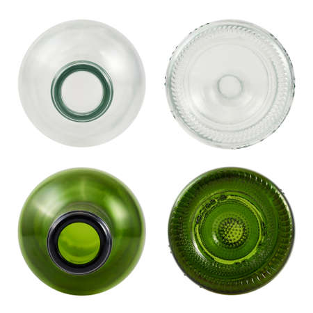bottom: Top and bottom sides of glass bottle isolated over white , set of green and transparent bottles