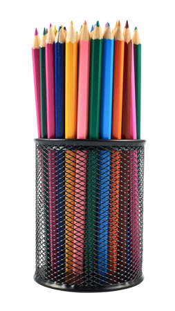 Black pencil holder full of colorful pencils isolated over white  photo