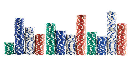 losing money: Casino playing chips stacks isolated over white background Stock Photo
