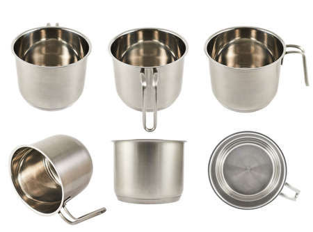 Stainless steel cooking pot with a handle isolated over white background, set of six foreshortenings photo