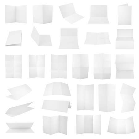 z fold: Collection of folded A4 paper clean copyspace sheets isolated over white background, set of 27 different foreshortenings Stock Photo