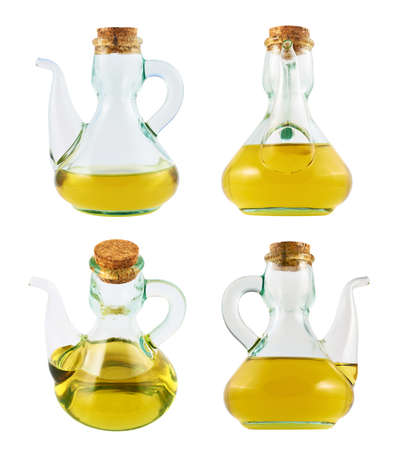 Olive oil glass vessel with a spout and cork plug isolated over white background, set of four foreshortenings