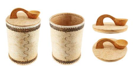 cylindrical: Handmade cassa cilindrica in legno isolato su sfondo bianco, set di due scorci e due tappi