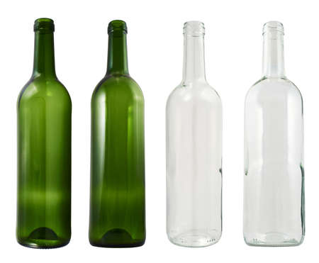 Empty transparent and green glass bottles isolated over white background, set of four images photo