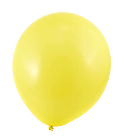 Fully inflated yellow air balloon isolated over white background Stock Photo