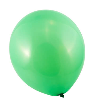 inflated: Fully inflated green air balloon isolated over white background