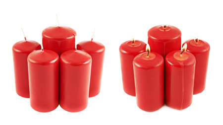 Five red candle composition isolated over white photo