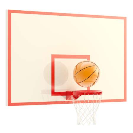 basketball shot: Plastic basketball ball over hoop isolated on white background, 3d render