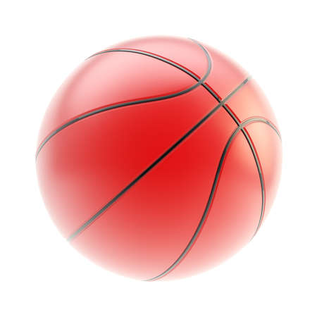 Glossy red basketball ball 3d render isolated over white background photo