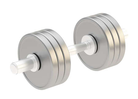 adjustable dumbbell: Adjustable weight metal dumbbell isolated over white background