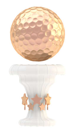 Award golf ball sport bronze trophy cup isolated over white background photo