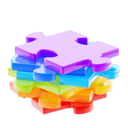 Stack of a colorful puzzle pieces isolated over white background photo