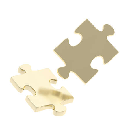 Two golden puzzle pieces composition isolated over white background photo