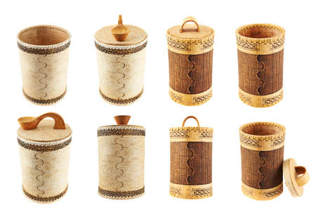 Handmade wooden cylindrical case isolated over white background, set of eight foreshortenings photo
