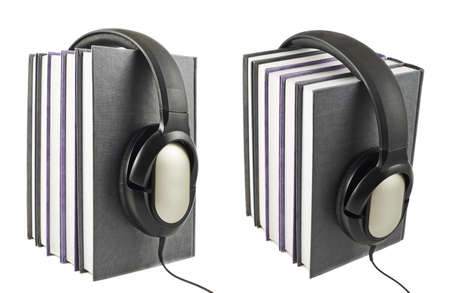 Audio-books concept composition as a stack of books with a headphones on it, isolated over white background, set of two foreshortenings photo