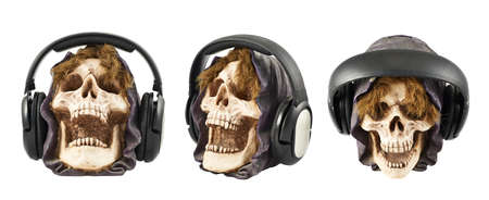 Headphones put on a ceramic skull head isolated over white background, set of three foreshortenings photo
