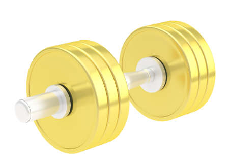 adjustable dumbbell: Adjustable weight golden dumbbell isolated over white background