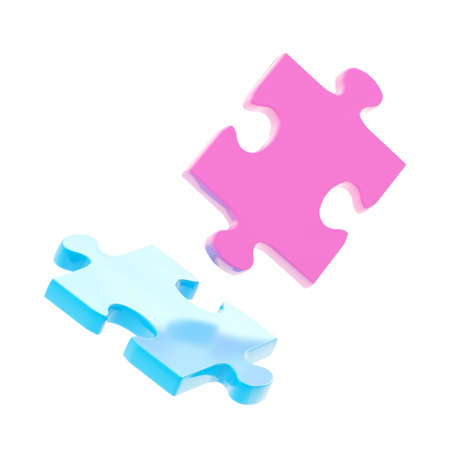 Two puzzle pieces, pink and blue, isolated over white background photo