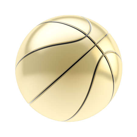 Shiny golden basketball ball 3d render isolated over white background photo