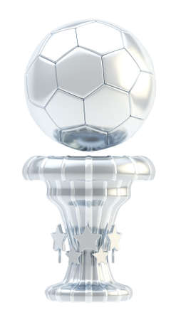 Award football, soccer sport silver trophy cup isolated over white background photo