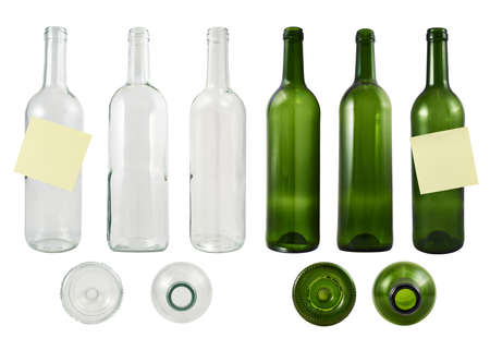 Empty green and transparent glass bottle set of images, isolated over white background photo