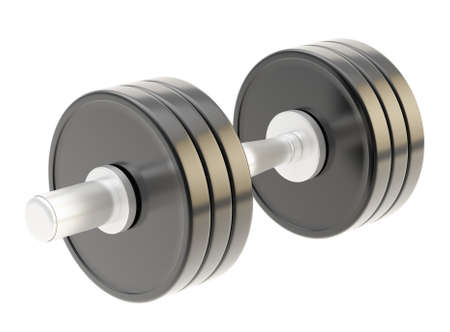 adjustable dumbbell: Adjustable weight black metal dumbbell isolated over white background Stock Photo