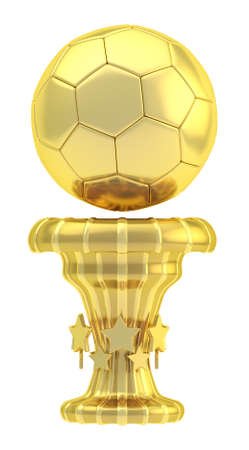 Award football, soccer sport golden trophy cup isolated over white background photo