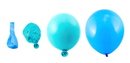 Four stages of blue balloon inflation process isolated over white background Stock Photo