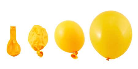 Vier fasen van oranje ballon inflatie proces geïsoleerd over witte achtergrond Stockfoto