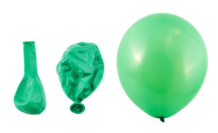 Three stages of green balloon inflation process isolated over white background