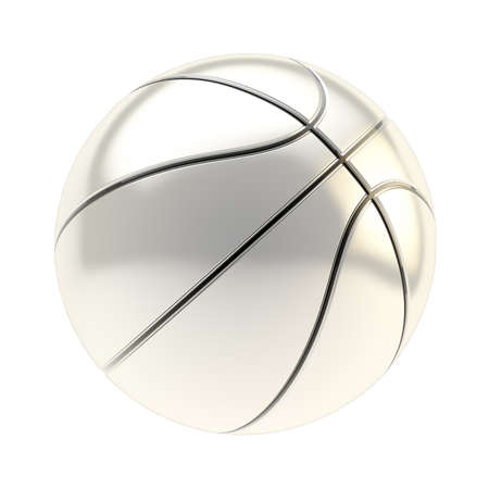Shiny silver basketball ball 3d render isolated over white background photo