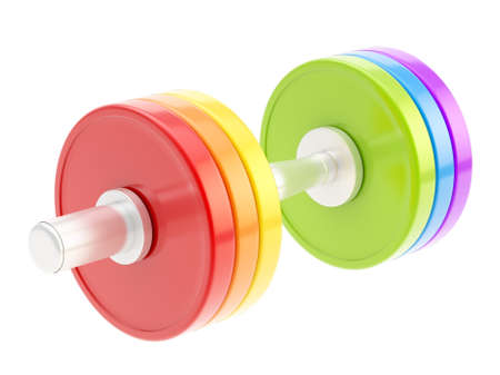 adjustable dumbbell: Adjustable weight metal rainbow colored dumbbell isolated over white background