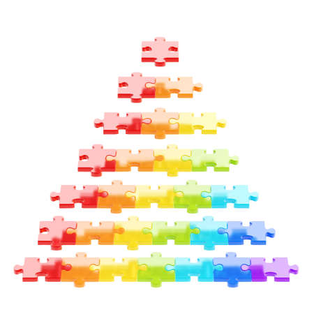 Pyramid made of colorful puzzle pieces isolated over white background photo
